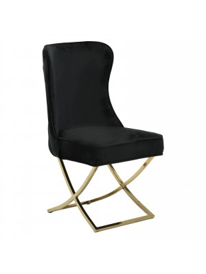 Черен плюшен стол с металнаи крака