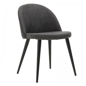Трапезен стол със сива синтетична дамаска и метални крака