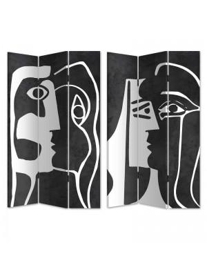 Двулицев параван арт фигури в черно и бяло