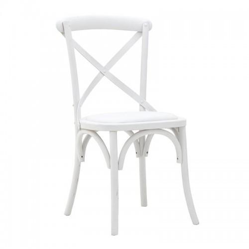 Дървен трапезен стол в антично бяло