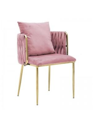 Плюшен стол с възглавница цвят пепел от рози