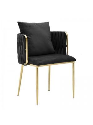 Черен плюшен стол с възглавница