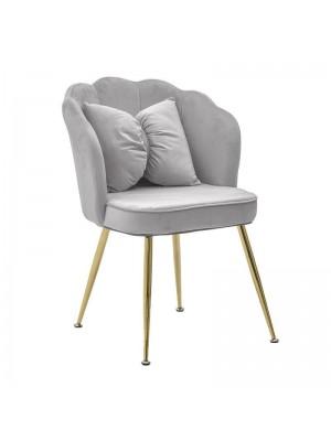 Сив плюшен стол с възглавница