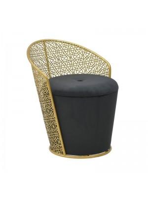 Черен отоман със златна рамка