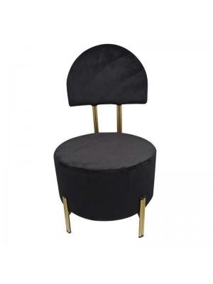 Стол черен плюшен със златна метална рамка