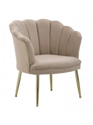 Бежово плюшено кресло със златни крака
