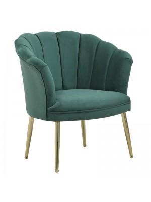 Зелено плюшено кресло със златни крака