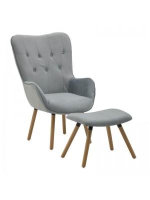 Сет кресло и табуретка със сива дамаска