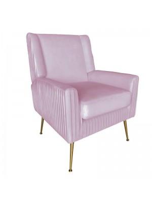 Розово плюшено кресло със златни крака