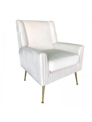 Плюшено кресло със златни крака цвят слонова кост