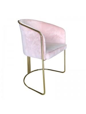 Розов плюшен стол със метална златна рамка