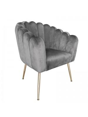 Сиво кресло със златни метални крака