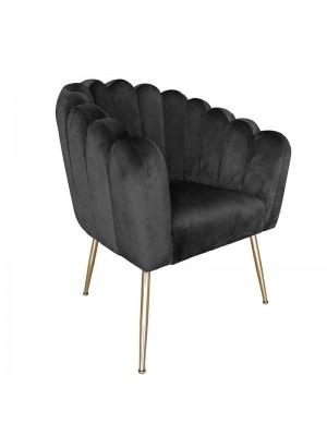 Черно кресло със златни метални крака