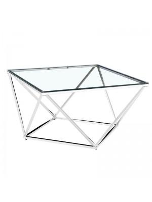Холна маса със сребръна рамка и стъклен плот