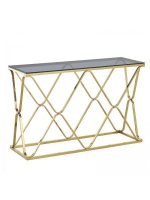 Конзола със златна рамка и черен стъклен плот