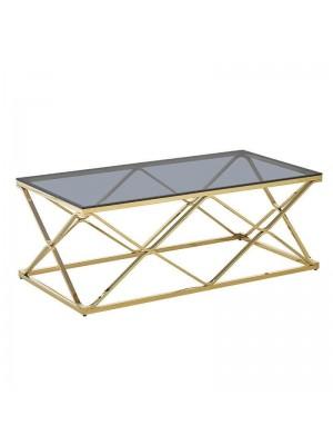 Холна маса със златна рамка и черен стъклен плот