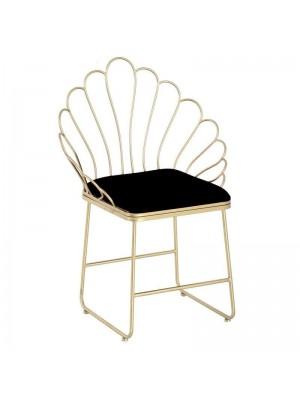 Златен метален стол с черна плюшена дамаска