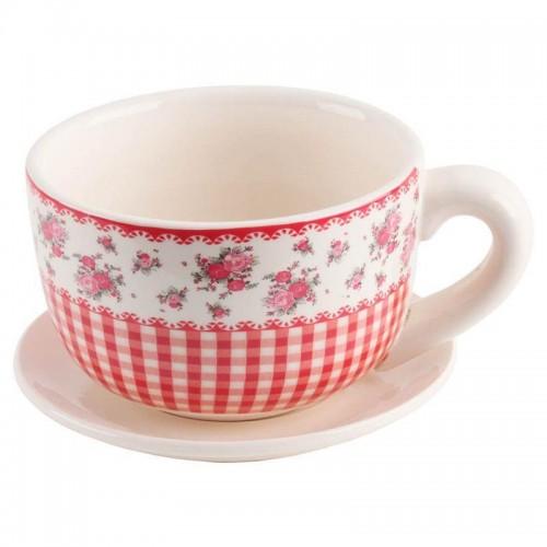 Кашпа дизайн чаена чаша с чиния червено каре