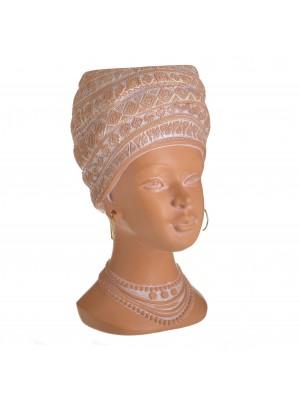 Кашпа от полирезин женски бюст в керемиден цвят
