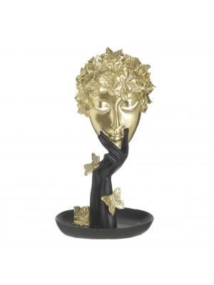 Фигура от полирезин лице в черно и златно