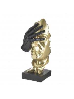 Статуетка от полирезин златно лице с ръка