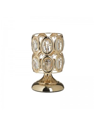 Златист метален свещник с камъни GOLDEN LINE