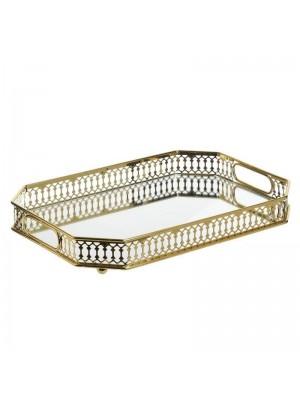 Златист метален поднос с огледална основа