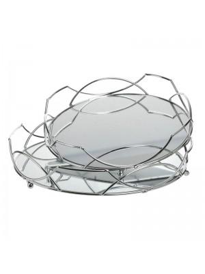Сребрист метален поднос с огледална основа сет 2бр