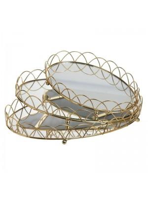 Златист метален поднос с  огледална основа сет 3бр GOLDEN LINE