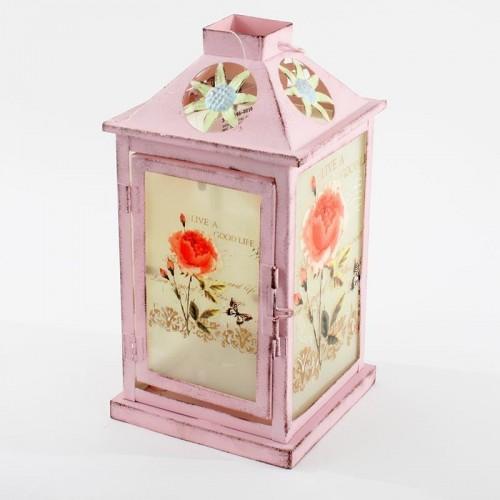 Метален фенер pink flower