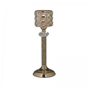 Метален свещник с декоративни камъчета