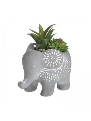 Керамична кашпа слонче с растение