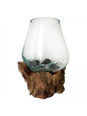 Стъклена ваза с дървена основа