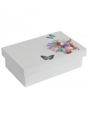 Бяла бижутерийна кутия с цветя