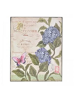 Картина на дърво сини цветя