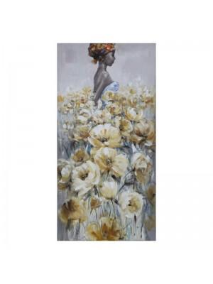 Картина принт женска фигура с цветя