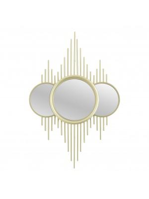 Стенно огледало с 3 сегмента и златна рамка