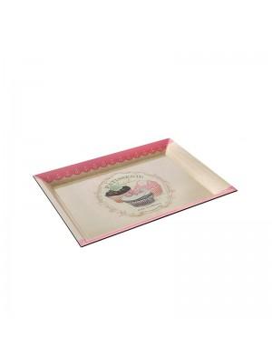 Правоъгълен пластмасов поднос в розово