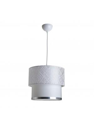 Текстилен полилей бял със сребърен кант