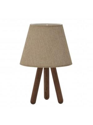 Настолна лампа с дървена основа и бежова шапка