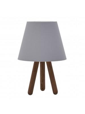 Настолна лампа с дървена основа и сива шапка