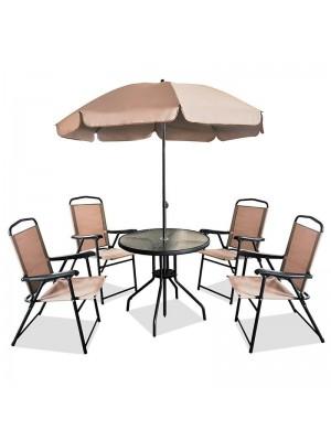 Градински сет маса с чадър и 4 стола