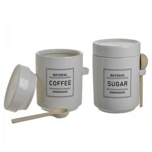 ПОРЦЕЛАНОВИ БУРКАНИ Coffee/Sugar СЕТ 2БР С МЕРИТЕЛНИ ЛЪЖИЧКИ
