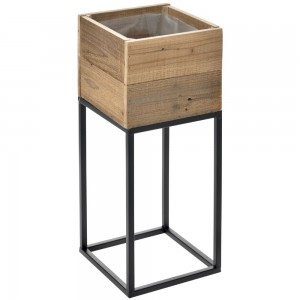WOODEN PLANTER ON METAL STAND 22X22X54