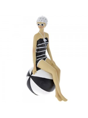 WOMAN W/SWIMSUIT BLACK 13X9X21 W/BALL