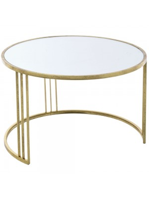 GOLD METAL TABLE W MIRROR D80X50 CM
