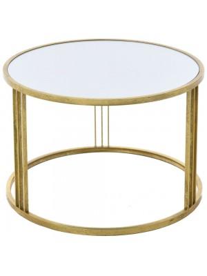 GOLD METAL TABLE W MIRROR D65X45 CM