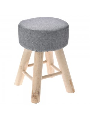 WOODEN STOOL WITH FUR D 30X33 CM