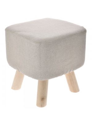 WOODEN STOOL WITH FUR 28X28X42 CM