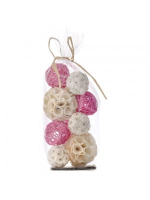 Декоративни ратанови топки X10 розови